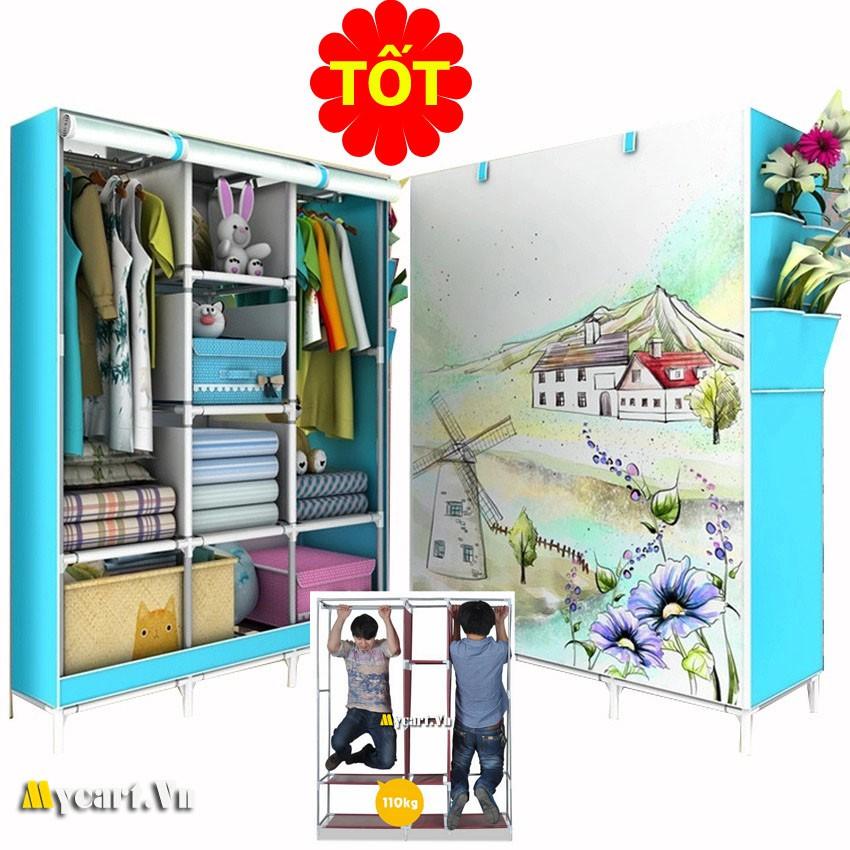 tủ vải quần áo 3D 3 buồng 8 ngăn Đài loan (Xanh)