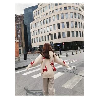 Áo len rộng họa tiết tuần lộc