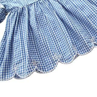 Đầm dài tay sọc caro cho bé gái