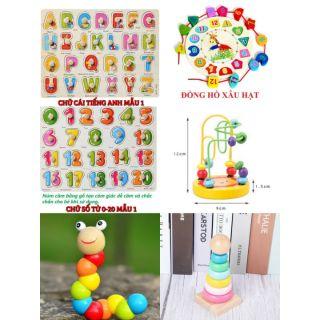 Combo 6 món đồ chơi gỗ phát triển trí tuệ cho bé