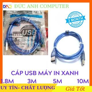Cáp máy in 1M5/ 3M/ 5M/ 10M cổng USB 2.0 loại tốt (màu xanh) CHỐNG NHIỄU - Full box - Bảo hành 3 tháng 1 đổi 1