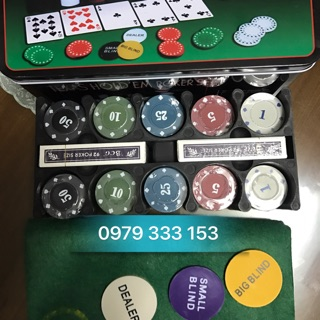 Phỉnh poker 200 chip có số vỏ hộp thiếc giá rẻ