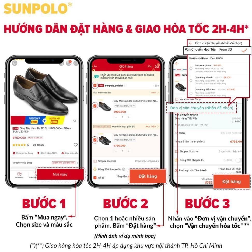 [Sale 3/3]Giày Tây Nam Da Bò SUNPOLO Đen Nâu - SU3020DN -x13