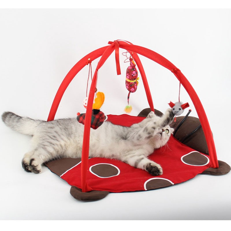 CIN∏Cat Playing Tent Toy Cute Kitten Bed Pad Blanket House Foldable 52x52x35CM