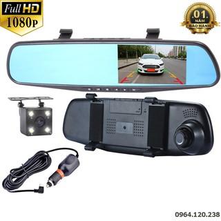 Camera Hành Trình Gương Chiếu Hậu Full HD - Tích Hợp Camera Lùi