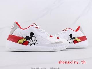 Originals Puma Clyde Harwood Giày bóng rổ Puma đế chuột Mickey Giày thể thao nam và nữ Giày thể thao thời trang Trắng đỏ 36-44