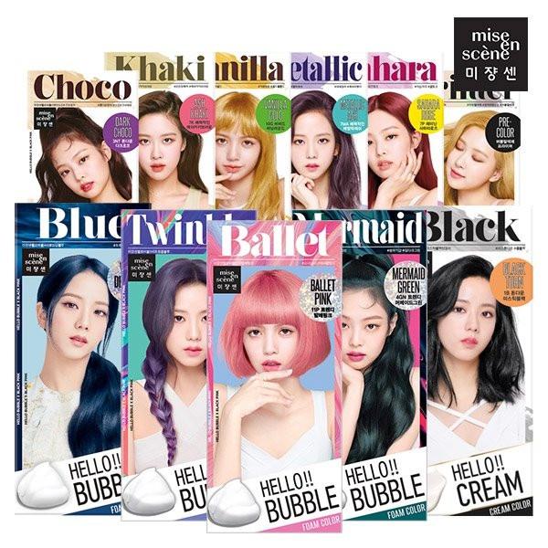 Thuốc nhuộm tóc gội nhuộm Hello Bubble Foam Mise En Scene mẫu Black pink