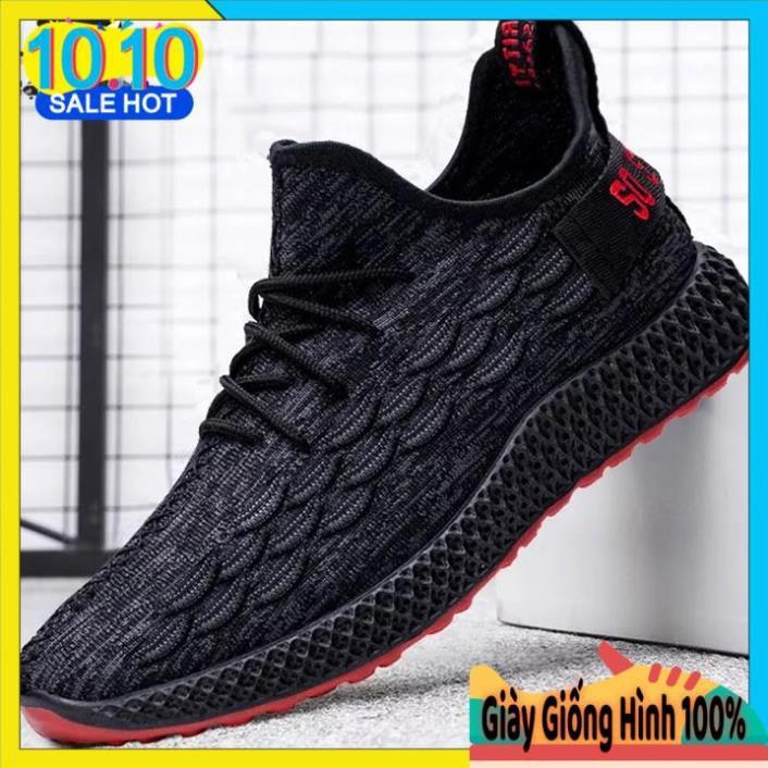 Giày Sneaker thể thao nam đen viền đỏ cực chất GTT-30T