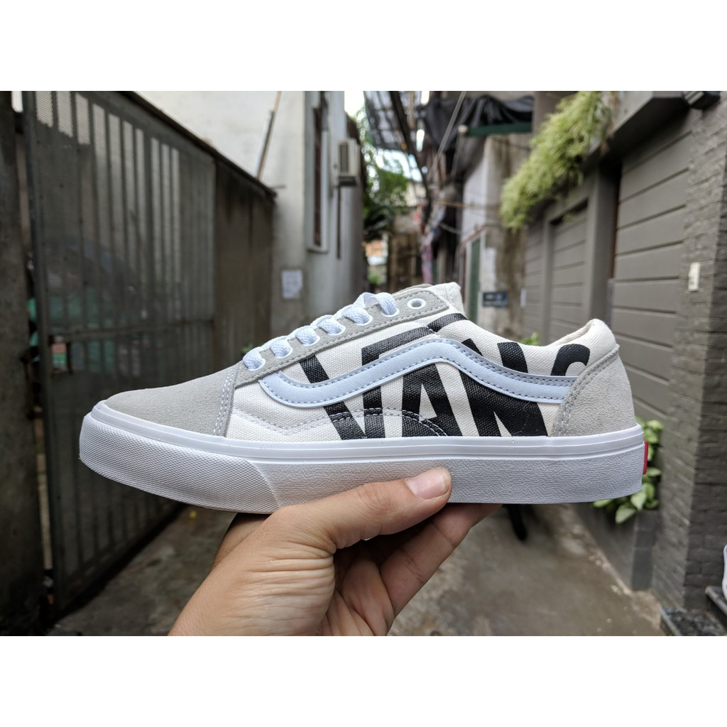 [FULL BOX] Giày Vans Old Skool màu xám trắng chữ Vans đen