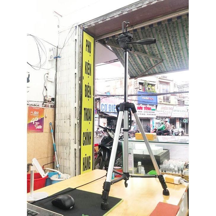 Tripod 3366-S Chính Hãng, khung nhôm cao 1m4, tải 3kg, kèm túi đeo, tặng đầu kẹp xịn