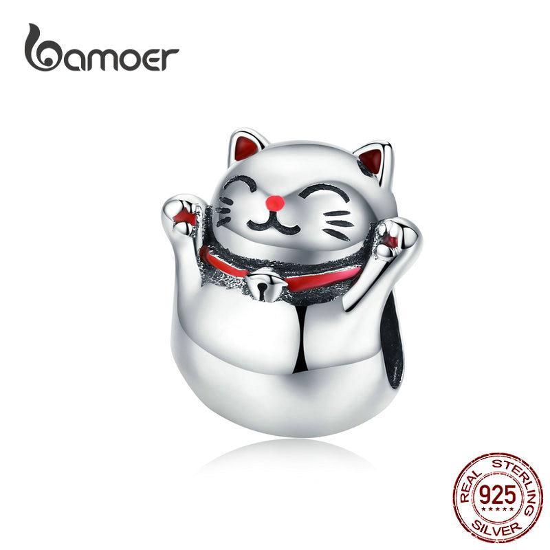 Hạt charm Bamoer hình chú mèo may mắn phong cách Nhật Bản đáng yêu