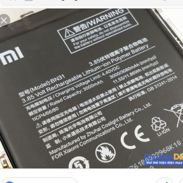 Pin xiaomi BN31 - 3594052 , 1170577111 , 322_1170577111 , 135000 , Pin-xiaomi-BN31-322_1170577111 , shopee.vn , Pin xiaomi BN31