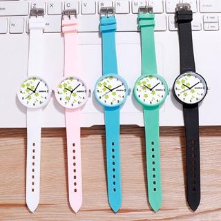 Đồng hồ nữ Shuxia dây silicon cao cấp mặt hoa xanh mẫu mới hot