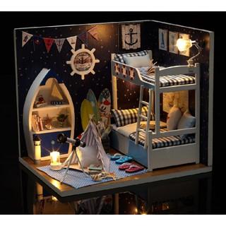 Mô hình nhà búp bê DIY – phòng ngủ bé trai FACE The SKY (CÓ BÚP BÊ)
