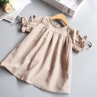Đầm baby doll bé gái kẻ caro
