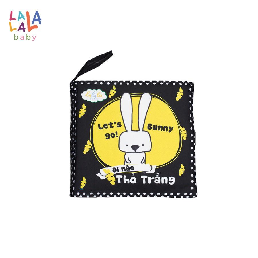 Sách vải Lalala baby, song ngữ kích thích thị giác: Let's go Bunny/ Đi Nào Thỏ Trắng kích thước 18×18 cm 12 trang