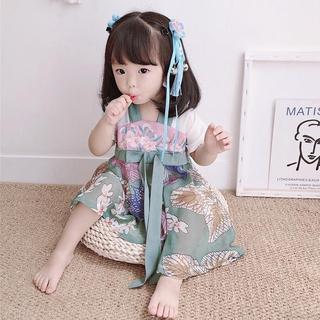 Đầm Bé Gái In Hoa Phong Cách Trung Quốc