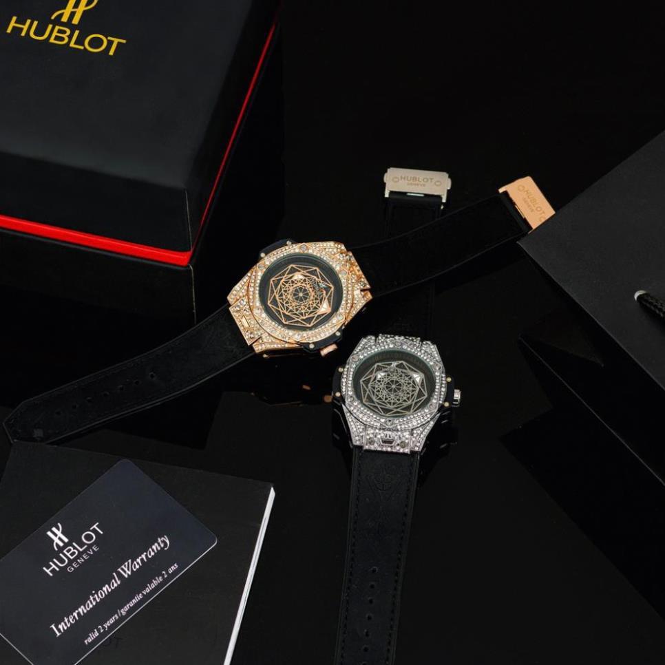 Đồng hồ nam Hublot mặt tròn size 42- đa giác đính đá, dây da chống nước DH604  shop105