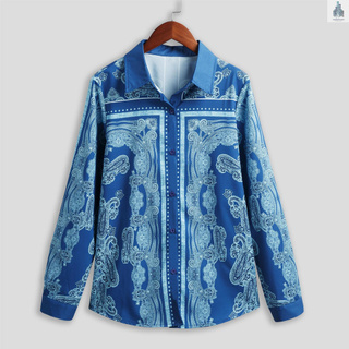Women Blouse Paisley Print Turn-down Collar Button Up Long Sleeve Shirt Casual Loose Plus Size Tops