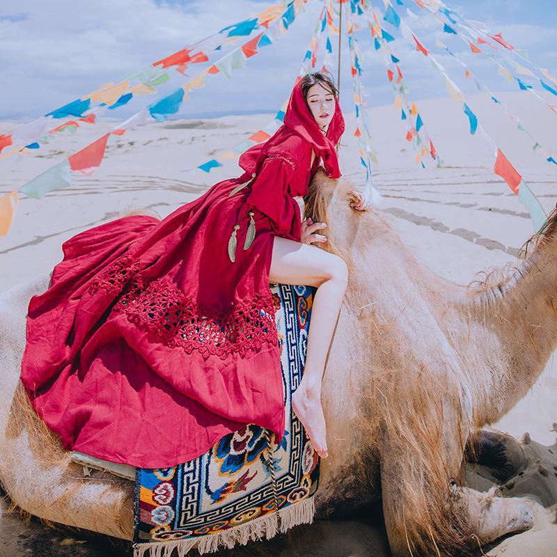 Đầm Dáng Dài Vải Lanh Phối Cotton Màu Đỏ Kiểu Retro Thời Trang Mùa Thu