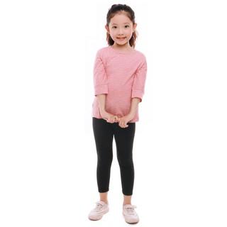 Bộ quần áo bé gái Narsis KM9017cổ tròn kẻ cam đen