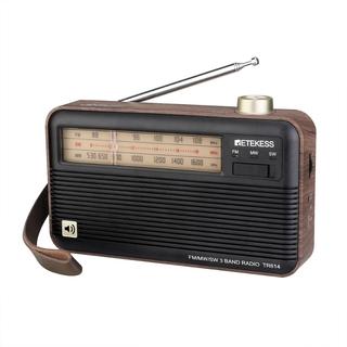 Radio FM MW SW Retekess TR614 3 băng tầng hỗ trợ tai jack tai nghe 3.5mm cổng sạc USB họa tiết vân gỗ cổ điển thumbnail