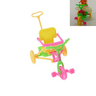 {NUV} Cute Plastic Bike Tricycle with Push Handle for Dolls Kids Gift{LJ}