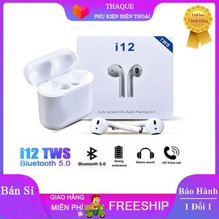 ( Hàng loại 1 ) Tai nghe Bluetooth i12 TWS bluetooth 5.0 cảm biến vân tay tặng kèm tai AKG S10 trị giá 79k