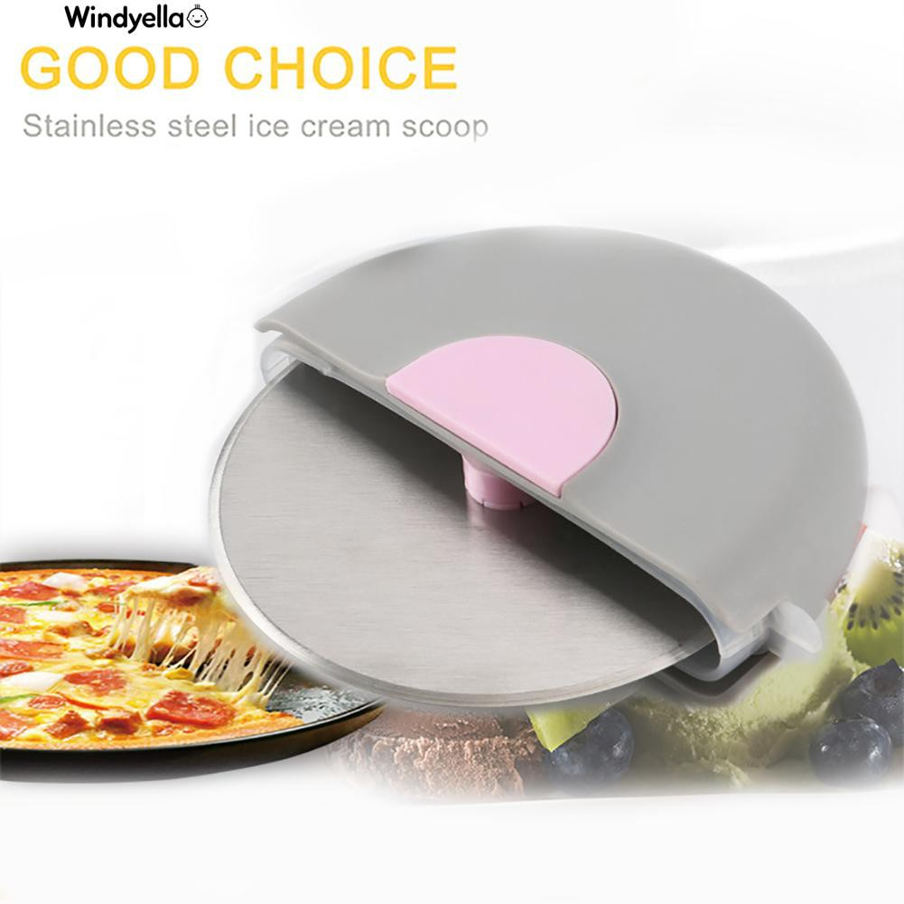 >>Stainless Steel Round Shape Pizza Wheel Cutter Kitchen Tool