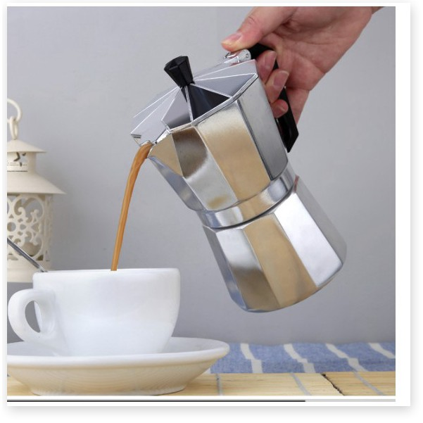 Bình pha Cafe 𝑭𝑹𝑬𝑬𝑺𝑯𝑰𝑷 Ấm pha cafe Moka 6CUP300ML Máy pha cà phê điện Bình cà phê Nhanh tại nhà 9346