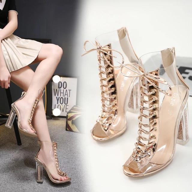 (ODER 5 ngày) Boots thời trang nữ ánh kim cao 12,5cm