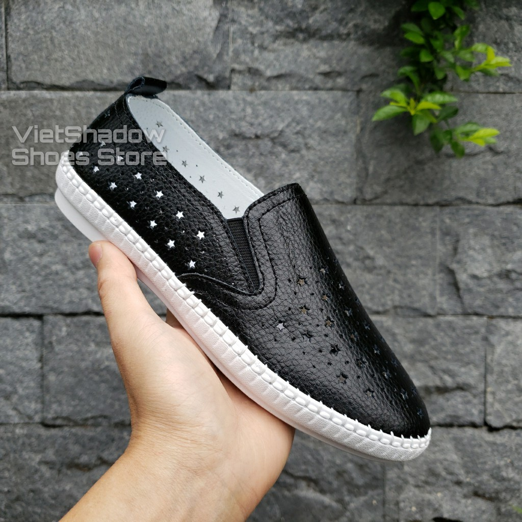 Slip on da nữ - Giày lười da nữ đột lỗ hình ngôi sao, đế khâu - Chất liệu bò 2 màu (đen) và (trắng) - Mã SP 2026N