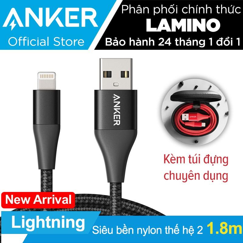Cáp sạc ANKER Powerline+ II Lightning dài 1.8m cho iPhone iPad kèm túi đựng cáp chuyên dụng