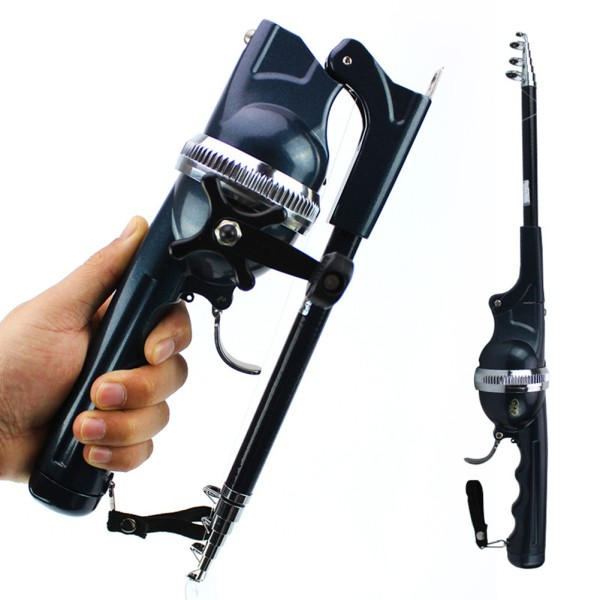 Folding Mini Rod Fishing Rod Telescopic Stainless Steel Poles with Reel Line