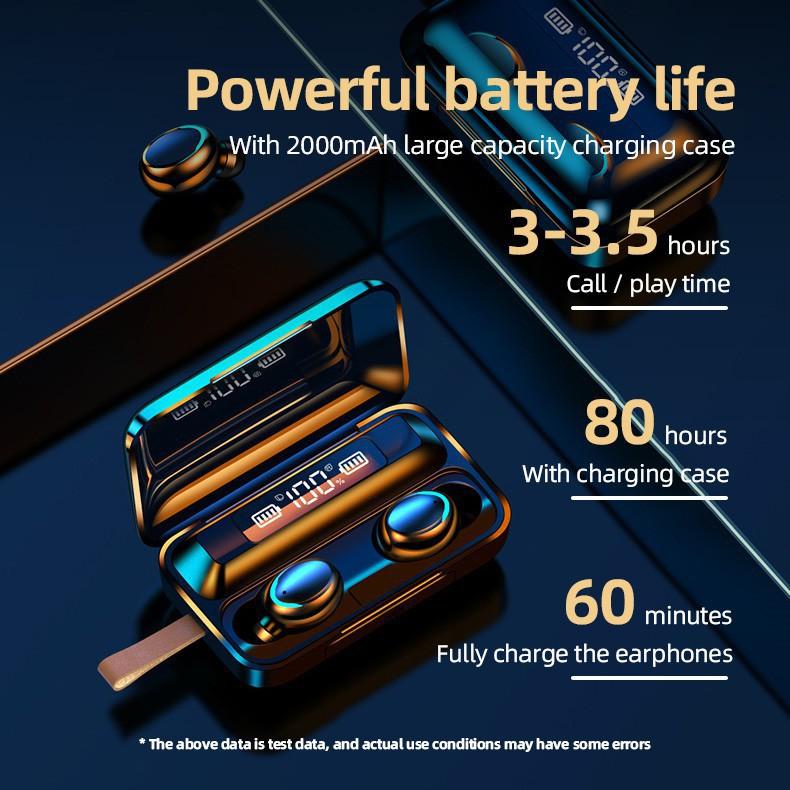 Nguyên bản AMOI F9-5 F9 ver.5 TWS 5.0 Tai nghe Bluetooth Tai nghe không dây Màn hình LED Điều khiển cảm ứng Tai nghe Airbuds 9D Stereo Sport IPX7 chống nước cho VIVO HUAWEI XIAOMI IPHONE OPPO