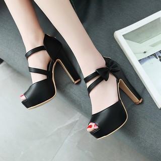 Giày cao gót hở mũi đính nơ xinh xắn - CG1093 thumbnail