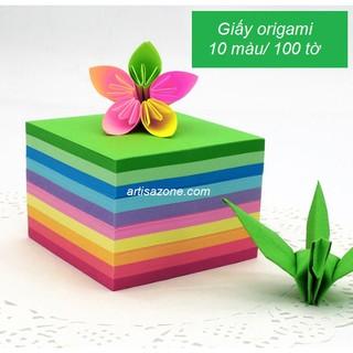 Tập 100 tờ giấy origami 10 màu