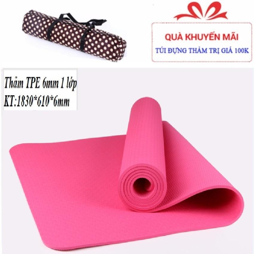 Thảm tập Yoga TPE 1 lớp 6mm+ Tặng túi chống nước xịn