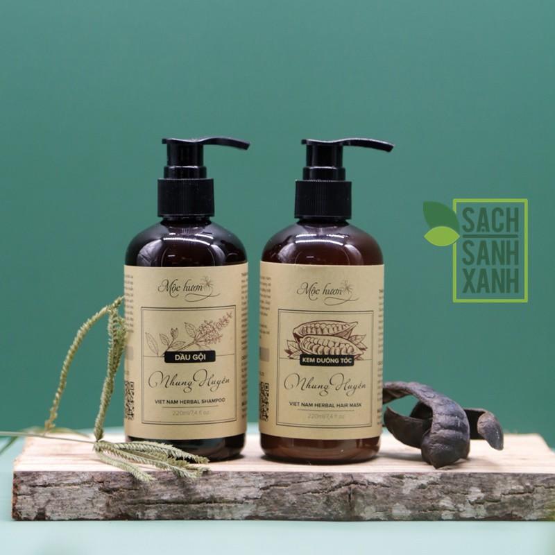 Cặp dầu gội - ủ xả Nhung Huyền của Mộc Hương - Cặp đôi hoàn hảo cho mái tóc suôn mềm bóng khỏe, dầu gội ủ thiên nhiên