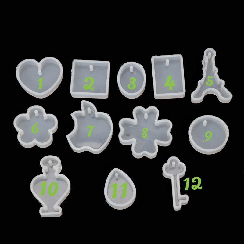12 khuôn silicon làm mặt trang sức phụ liệu resin