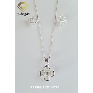 Combo dây chuyền và bông tai bạc Ý Huệ Ngân - Cỏ bốn lá may mắn PP1302-RYE140776