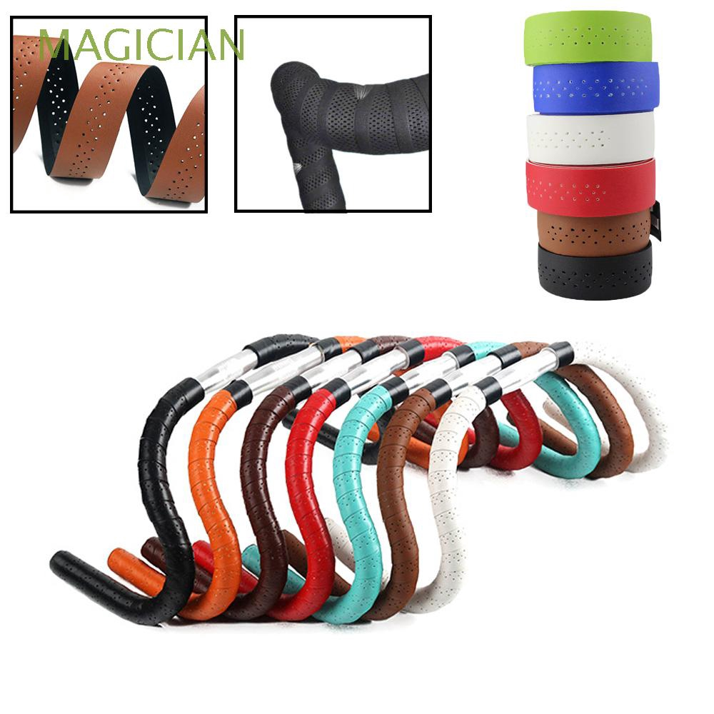 1 Pair Non-slip Waterproof Breathable Perforated PU Leather Handlebar Tape