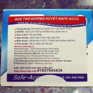 50 que test + 50 kim chích máu Safe – Accu