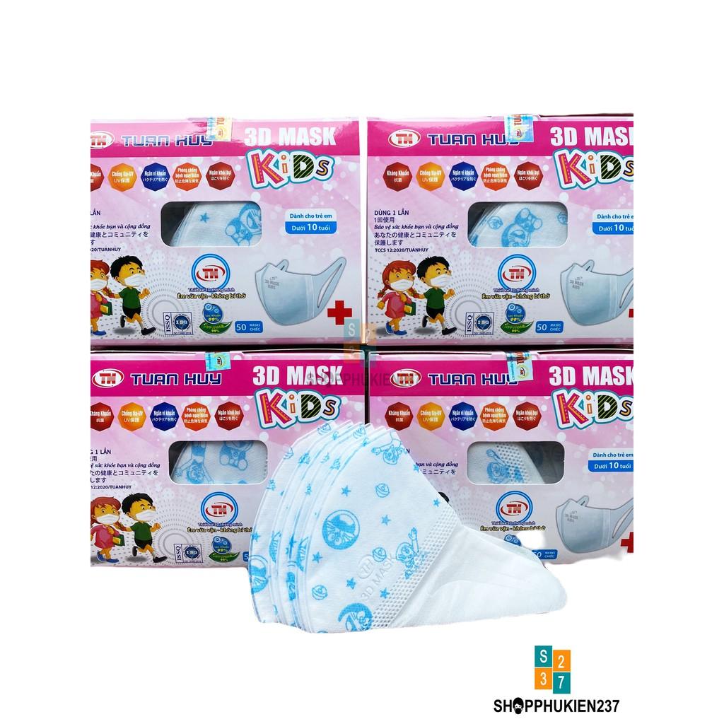 Khẩu trang 3D Yuki trẻ em hộp 50 cái cao cấp