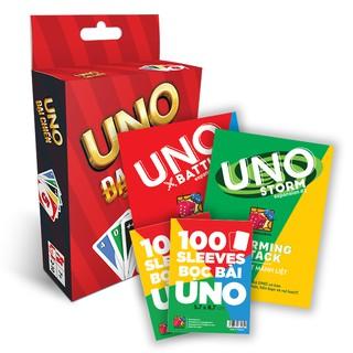 Thẻ bài Combo UNO STORM BATTLE BoardgameVN + 2 bộ Sleeves Uno (200 cái)