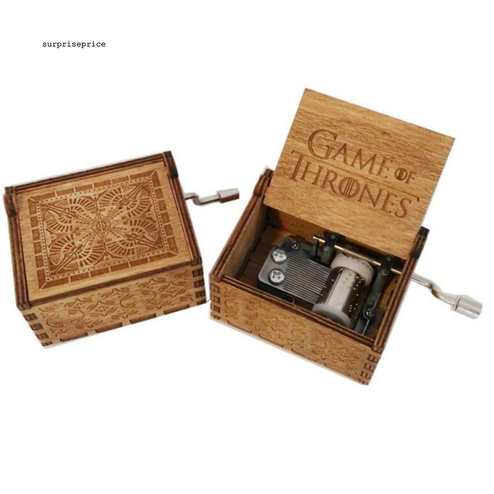 SPP_Wooden Game of Thrones Hand Crank Craved Music Box Crafts Kid Toy Birthday Gift