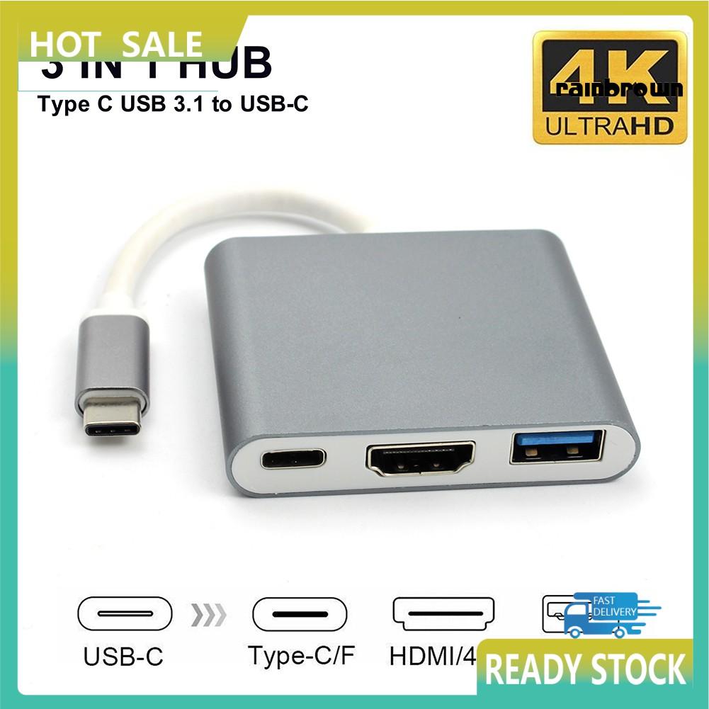 Bộ Chuyển Đổi 3 Trong 1 Usb 3.1 Type-C Sang 4k Uhd Hdmi Usb-C Hub Cho Macbook