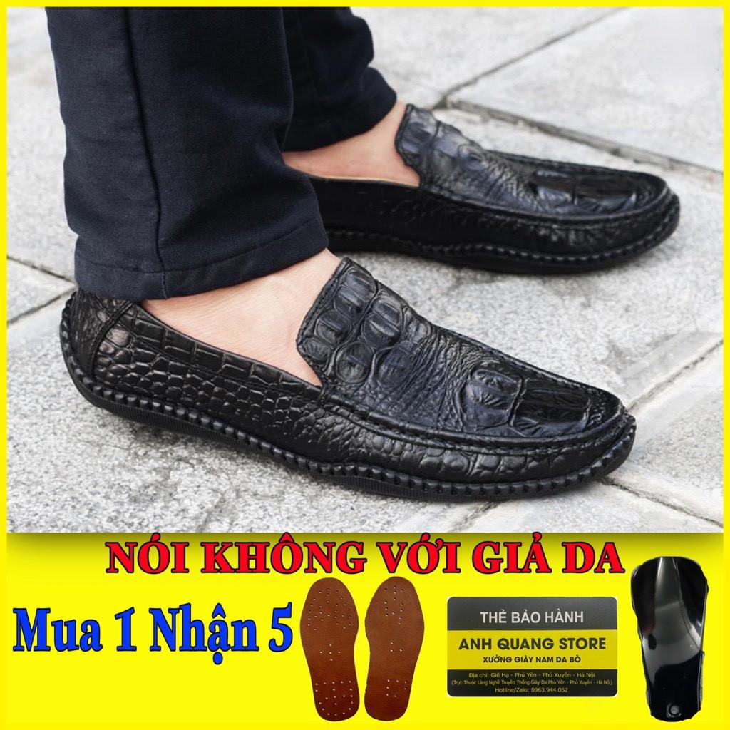 Giày lười nam cao cấp da bò thật đế cao su êm ái phong cách hiện đại Gl868