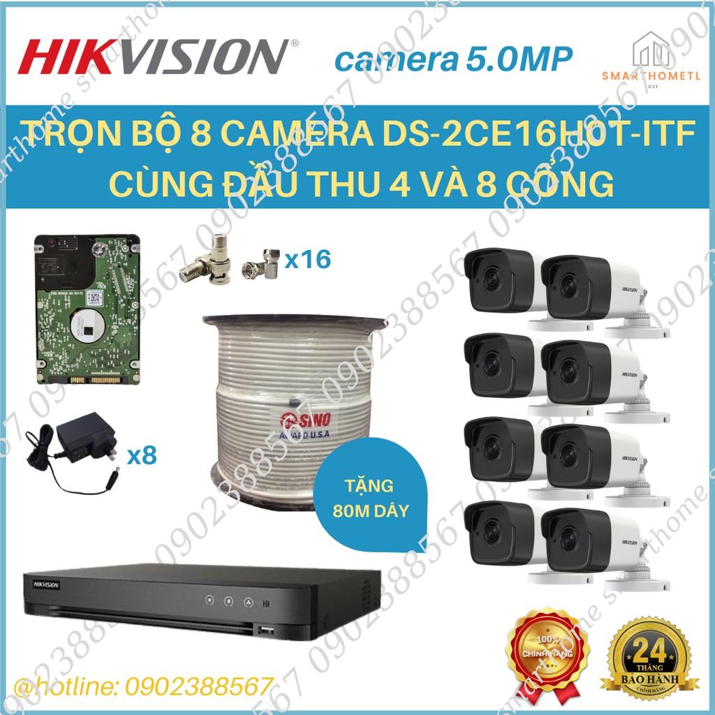 TRỌN BỘ TỪ 2 ĐẾN 8 CAMERA 5.0MP DS-2CE16H0T-ITFĐầu ghi hình Hybrid TVI-IP 4 kênh TURBO 4.0 HIKVISION DS-7204HUHI-K1 -Đầu
