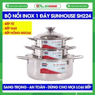 Bộ nồi inox Sunhouse SH224 tiện lợi, nồi inox Sunhouse cao cấp dùng cho bếp từ, bếp gas, bếp hồng ngoại - BH 12 tháng